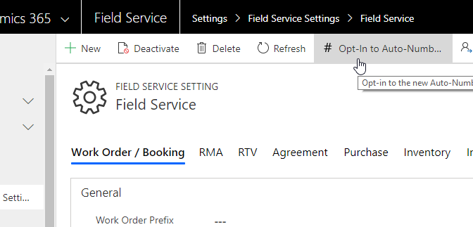 New Auto-numbering for Field Service