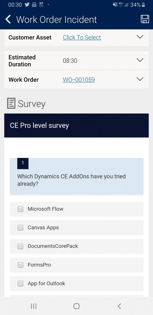 Microsoft Forms Pro embedded in Field Service Mobile