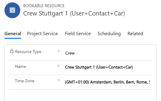 Dynamics 365 Field Service Resource Crew